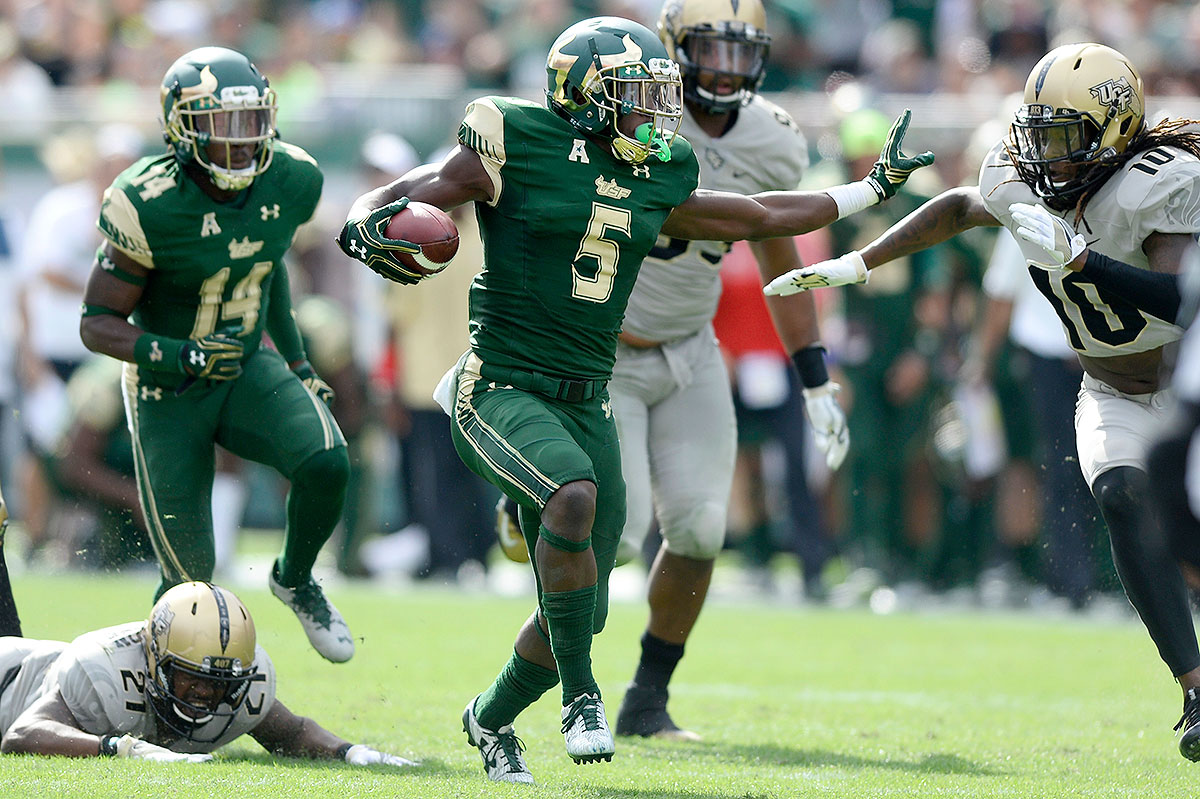 Mack found the end zone in every game he played in this year, finishing with 15 touchdowns for the resurgent Bulls. He can cut on a dime unlike many backs his size, and it remains to be seen whether Charlie Strong's assumption of the USF top job will convince Mack to return in pursuit of a fourth 1,000-yard season.