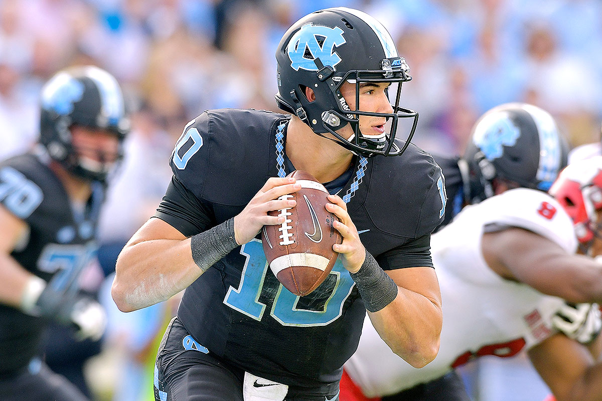 """Picking up steam as arguably the most promising quarterback with 2017 draft eligibility, Trubisky has just 12 starts to his credit, all this season. He has the size (6' 3"""") and arm NFL teams covet, plus has a seemingly endless supply of confidence in his own ability—he'll stand in the pocket and make difficult throws. A lot of work must be done to clean up his mechanics."""