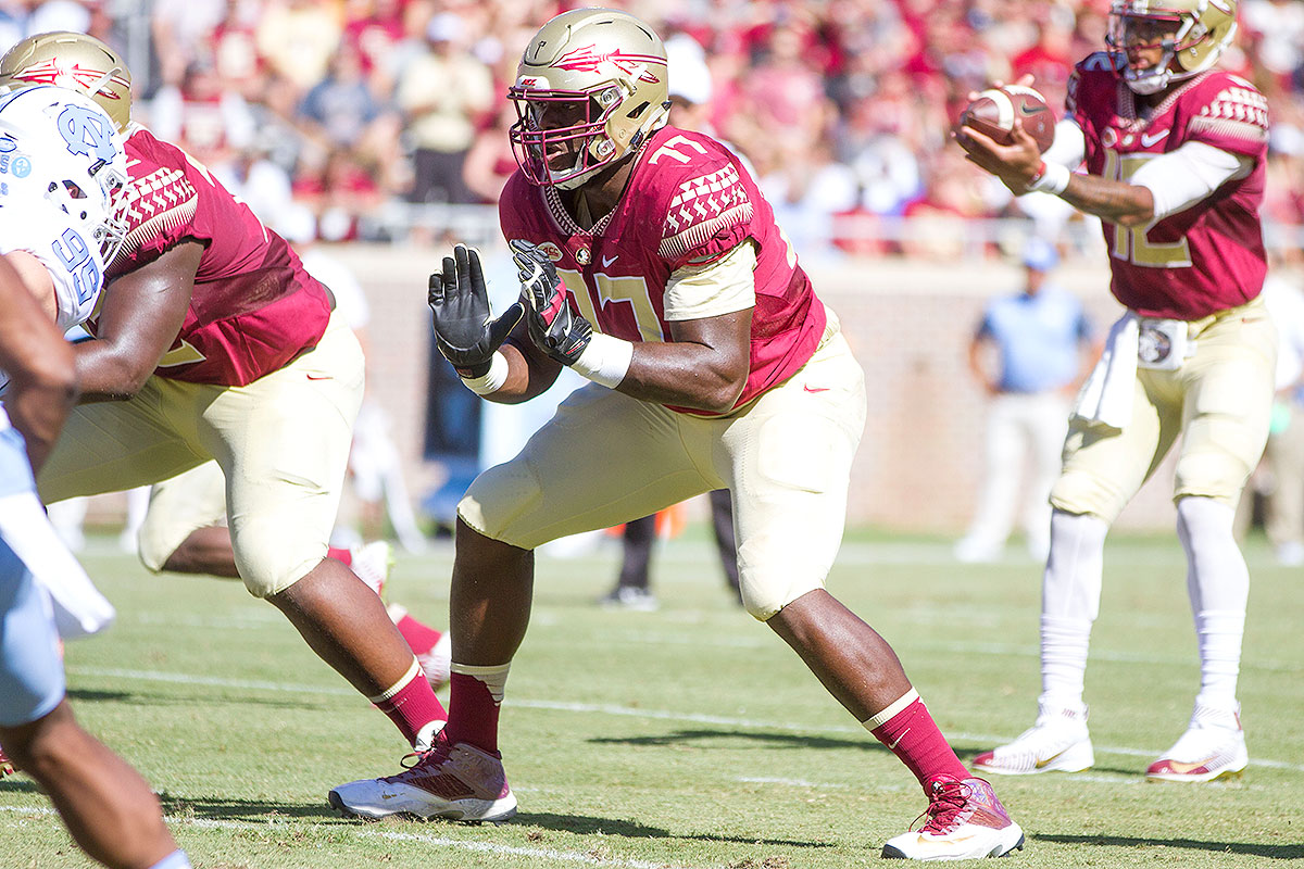 """Johnson protected Jameis Winston's blind side for the second half of the 2014 season, and he opened up running lanes for Dalvin Cook, who rushed for the sixth-most yards in the NCAA this season and may be the first running back drafted in '17. The left tackle has the size (6' 7"""", 311 pounds) and athleticism needed to succeed in the NFL , but his technique and finesse are lacking, particularly his footwork. Johnson has struggled at times this season, and his play will go a long way toward determining whether the Seminoles can contain Michigan's bevy of pass rushers, including 2017 prospects Chris Wormley and Taco Charlton."""