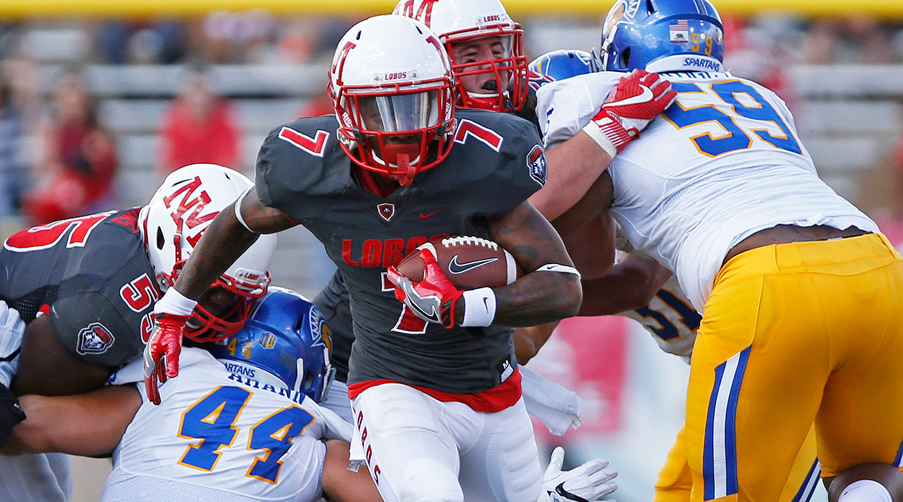 """Gipson leads the nation with a comical 9.2 yards per carry as the smallest (5' 8"""", 182 pounds) and quickest member of the three-headed running back committee that powers New Mexico's option offense. The Lobos run early and often, averaging 360.9 yards per game on the ground—a full 50 yards more than the next closest program in the FBS."""