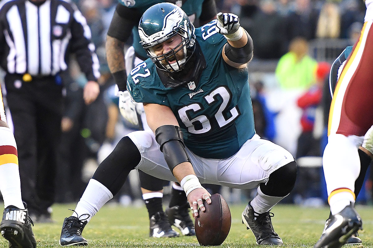 And this is why Myers is listed as a guard: to make room for Kelce, a 78-game starter for the Eagles since his selection back in 2011. The height of his career thus far came in 2013-14. He was the linchpin of Philadelphia's league-best rushing attack in '13, as the Eagles won the NFC East under Chip Kelly; the next season, he was rewarded with a Pro Bowl berth, despite missing four games. Kelce is among the more athletic interior linemen to come through the NFL in recent memory.