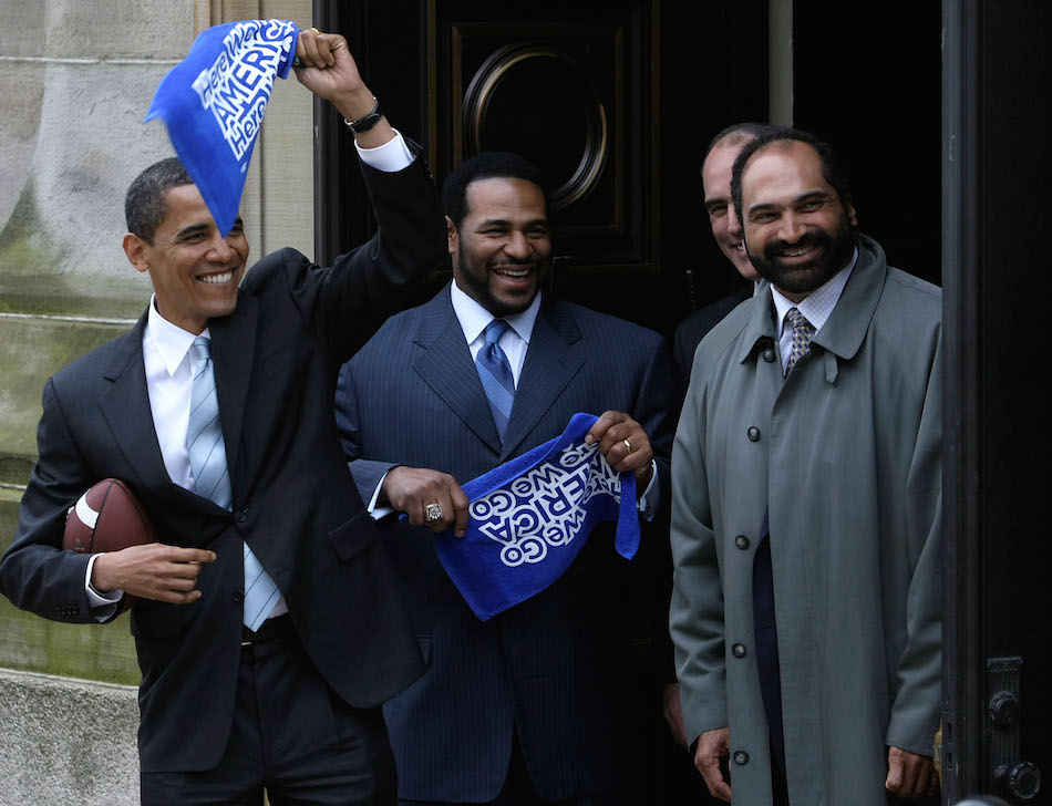 Barack Obama campaigns in Pennsylvania with Steelers' greats Jerome Bettis and Franco Harris in 2008.