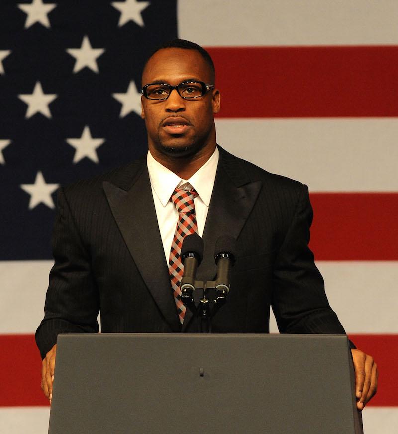 NFL tight end Vernon Davis speaks at a San Francisco fundraiser for Obama in 2012.