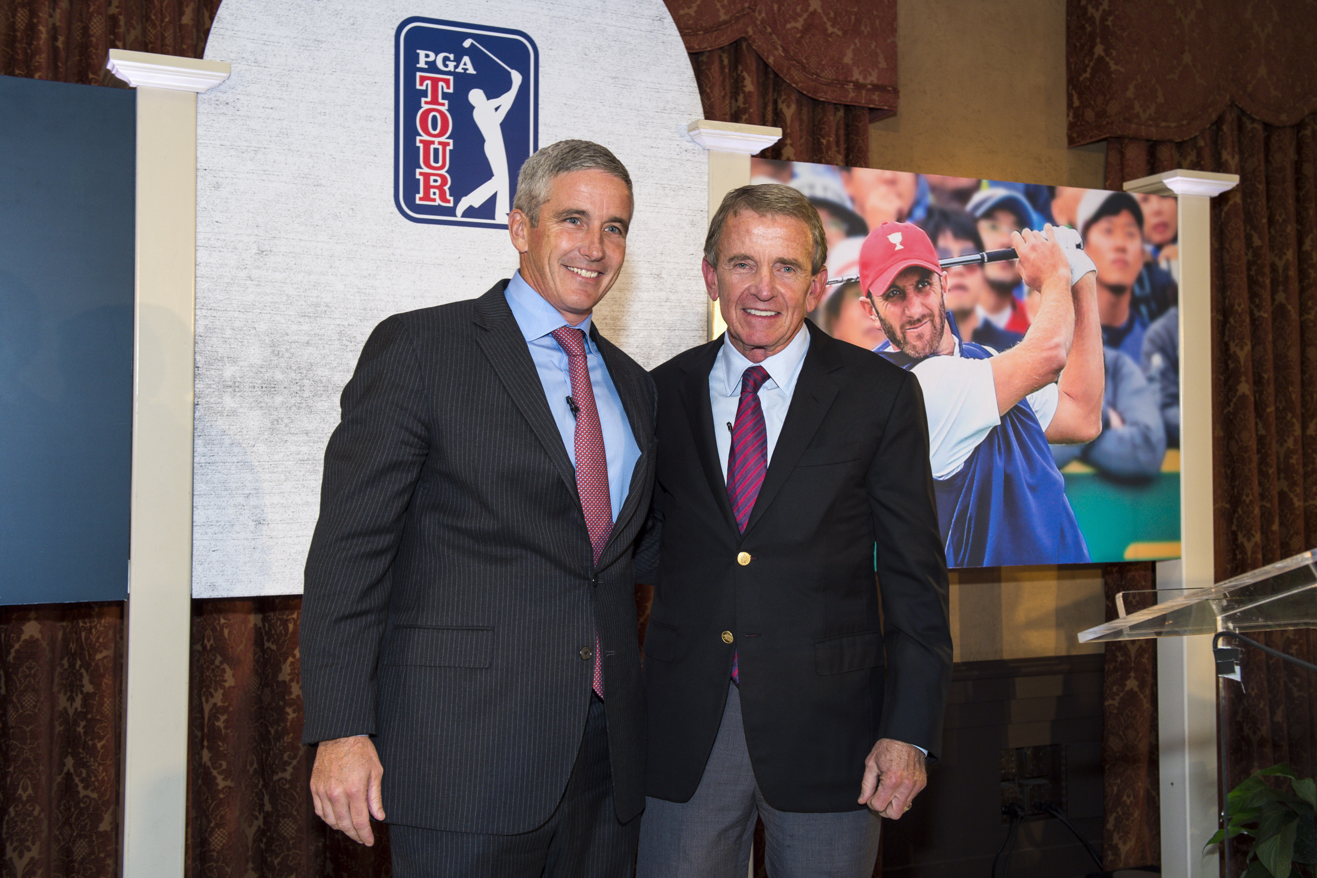 Jay Monahan (left) hopes to continue Tim Finchem's momentum as the new PGA Tour commissioner.