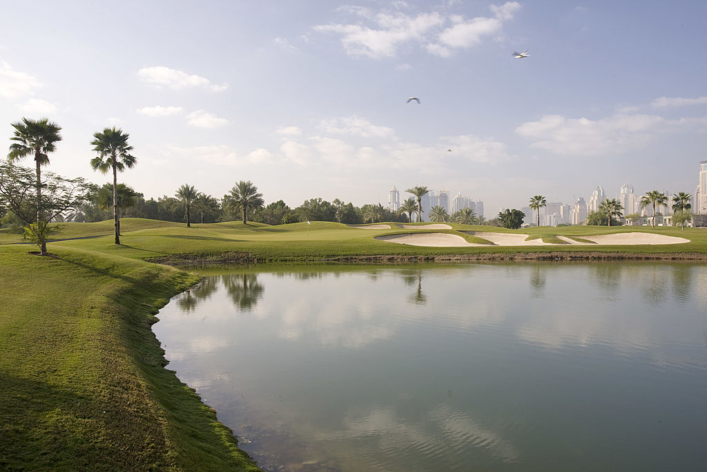 """Once known as Wadi (""""Valley""""), for the natural feature that graces the layout, the sister course to Majlis was reworked by Sir Nick Faldo in 2006. A watery front nine gives way to more interesting terrain on the back. At more than 7,000 yards from the tips, the Faldo is near-equal in challenge to the Majlis, if not in character, but it is floodlit for night play, a huge plus when the mercury soars."""