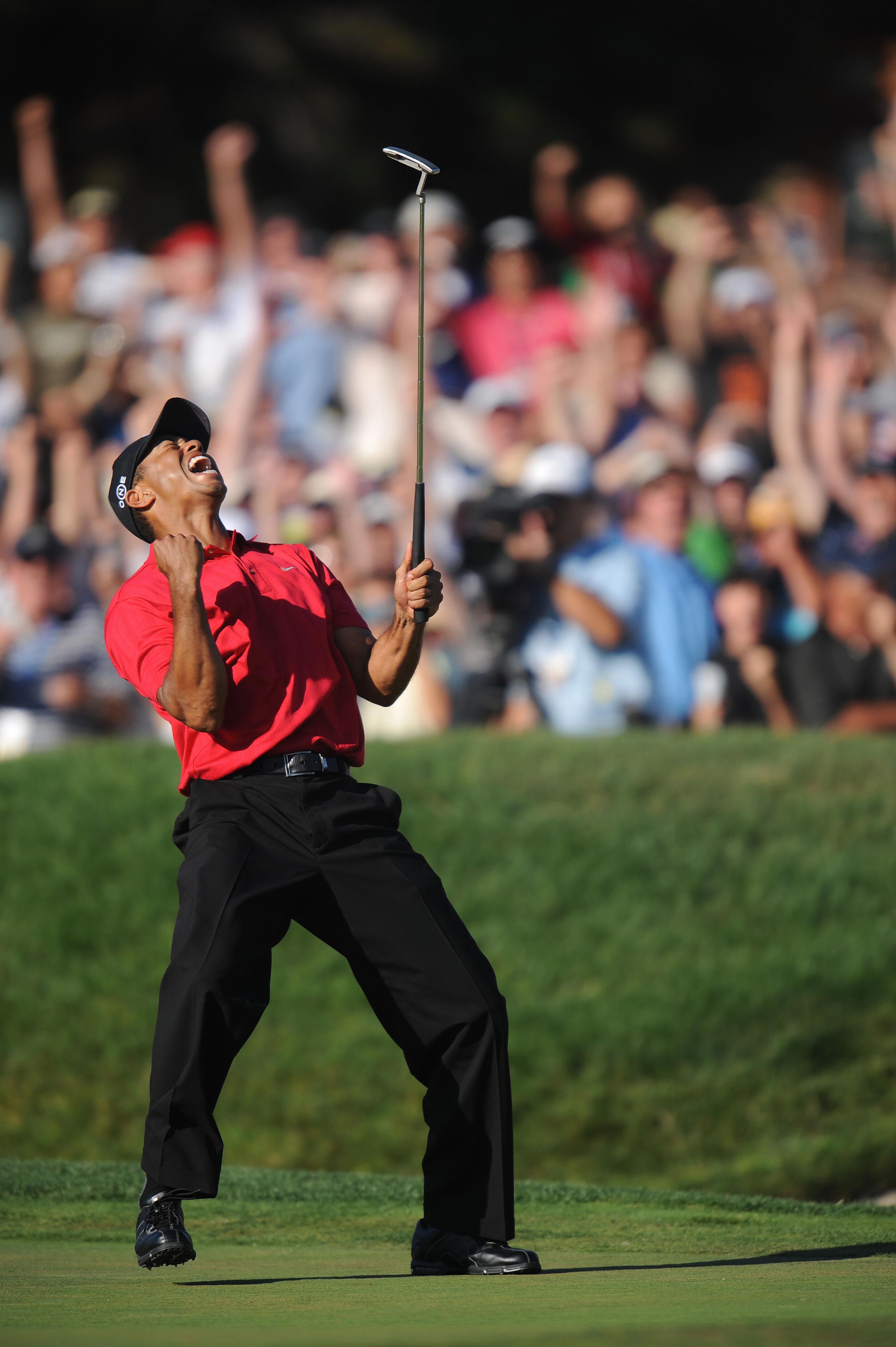 Tiger Woods outlasted an full-day playoff against Rocco Mediate to claim his 14th major championship at the 2008 U.S. Open.