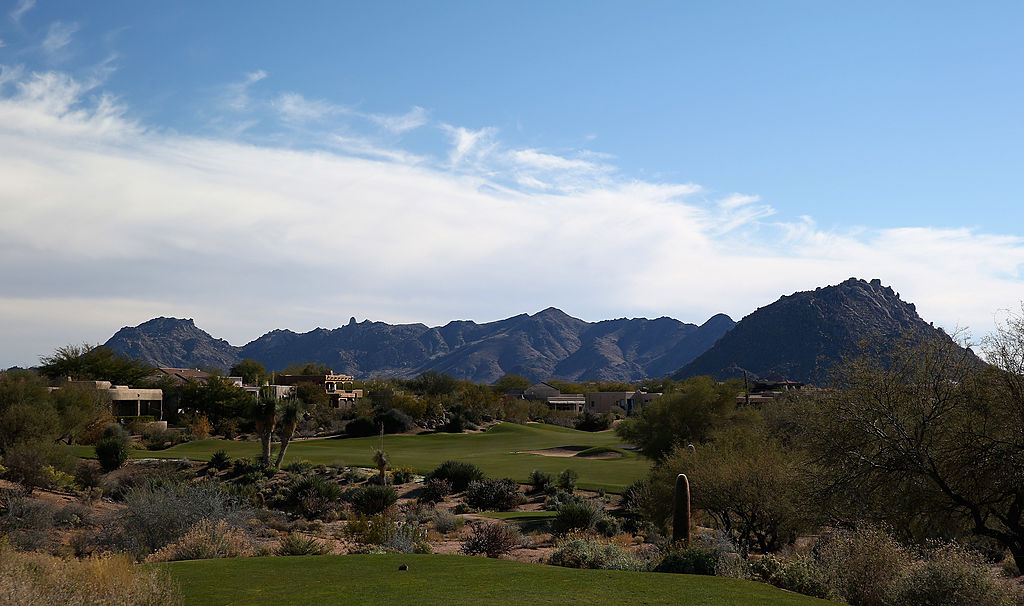 The par five 14th hole on the Pinnacle Course at the Troon North Golf Club in Scottsdale, Arizona.
