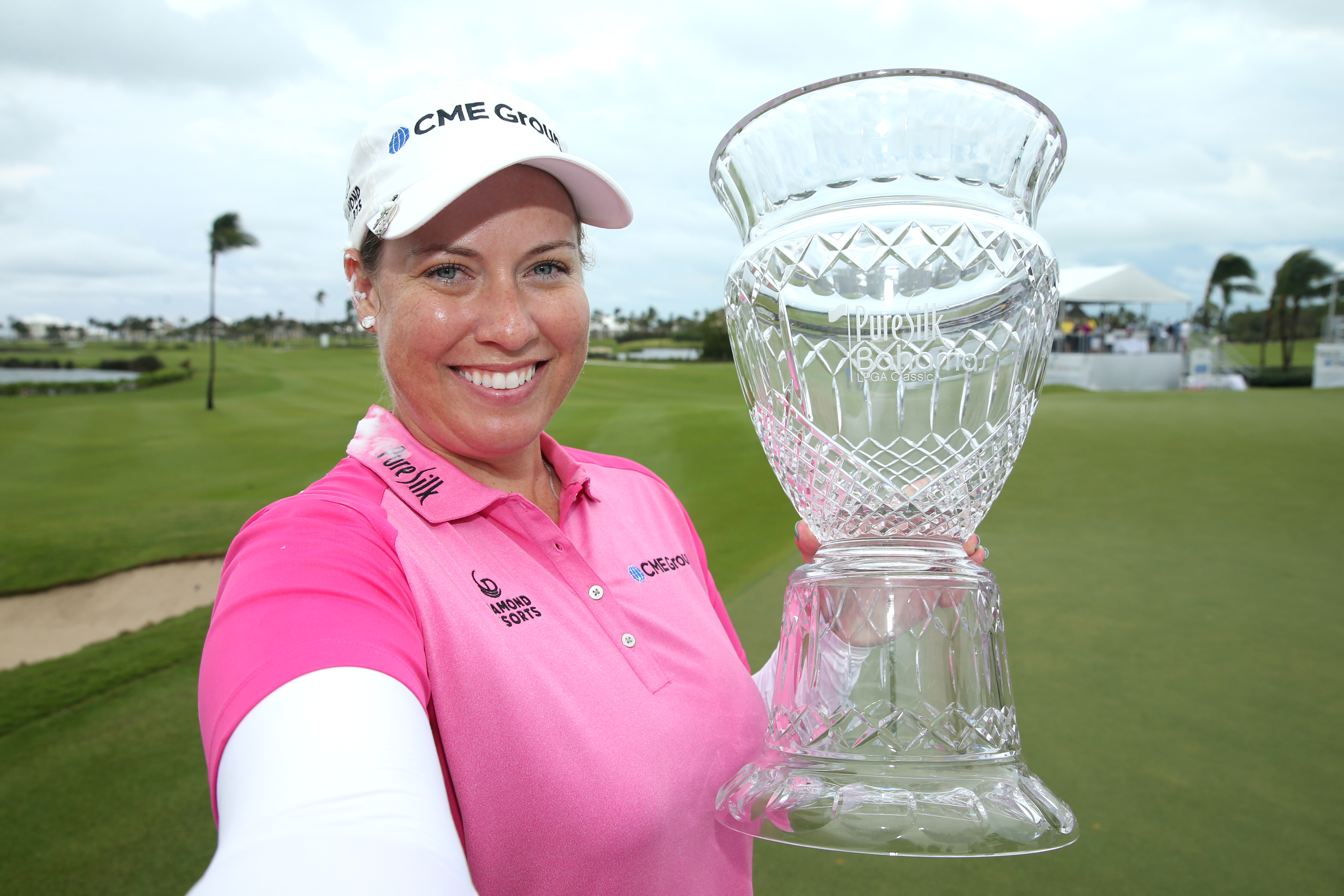 Brittany Lincicome poses with her trophy after winning the 2017 Pure Silk Bahamas LPGA Classic.