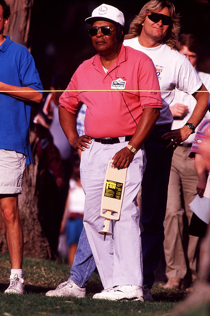 Earl Woods, Tiger's father, follows his son's round at the 1992 L.A. Open. Earl died in 2006.