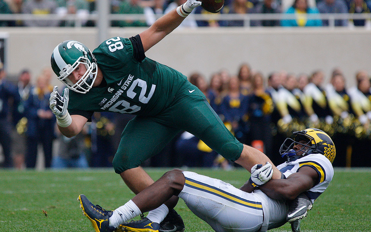 He's not the mismatch-creating tight end that others at his position are, but Price still caught 21 career touchdown passes for the Spartans. He's also well-versed as a blocker, which should help draw him NFL looks.