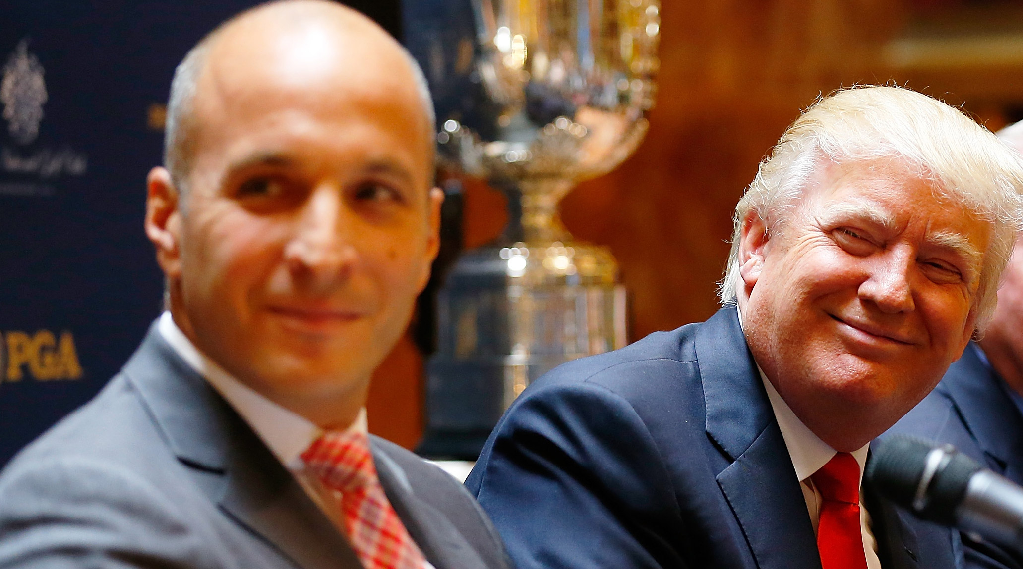 PGA of America CEO Pete Bevacqua and Donald Trump at a May 2014 press conference.