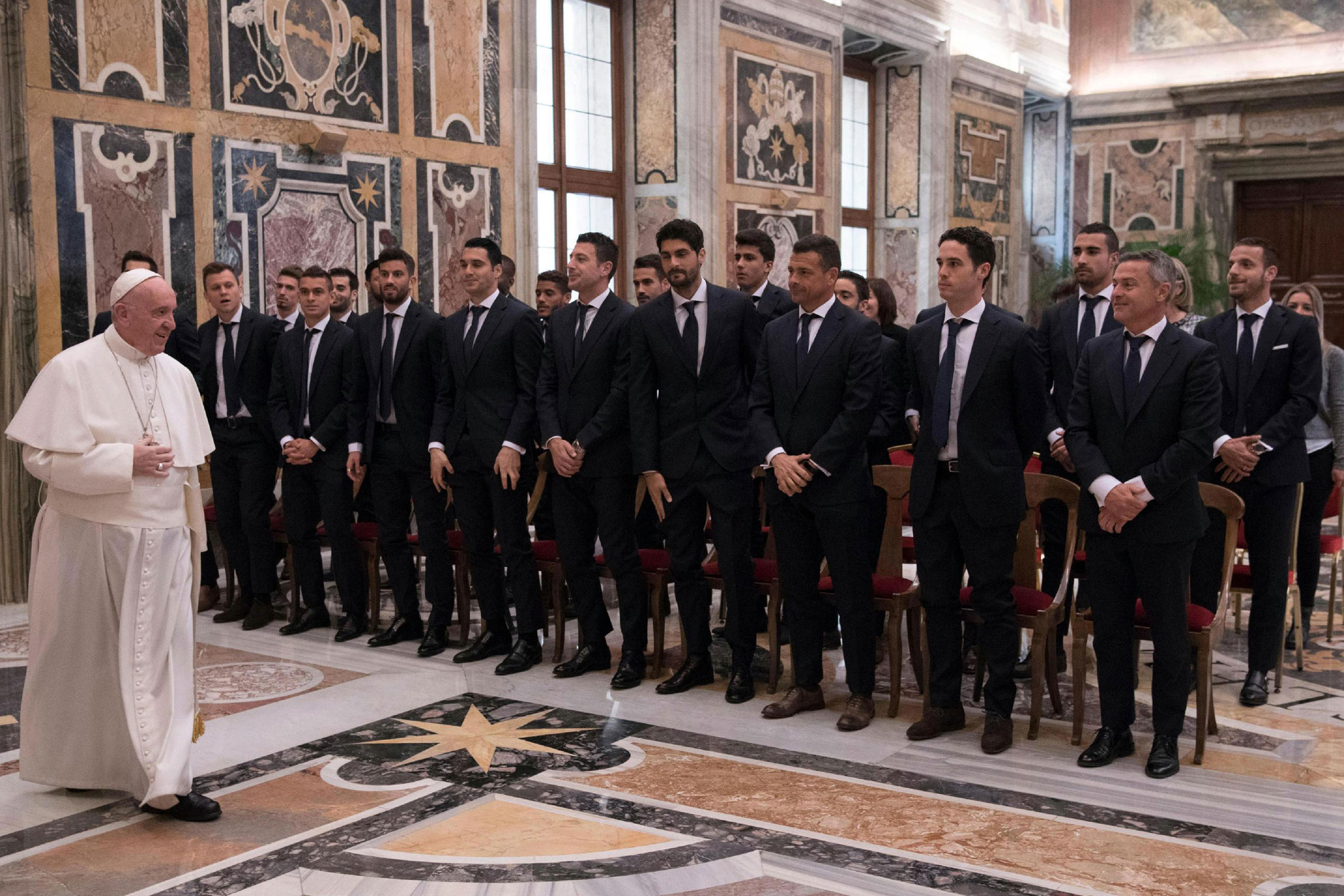 Spanish club Villarreal visits the Vatican prior to a Europa League match against AS Roma.