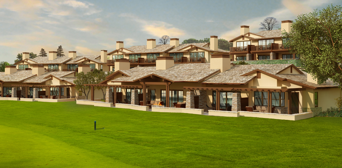 The view of the lodges from the first fairway.