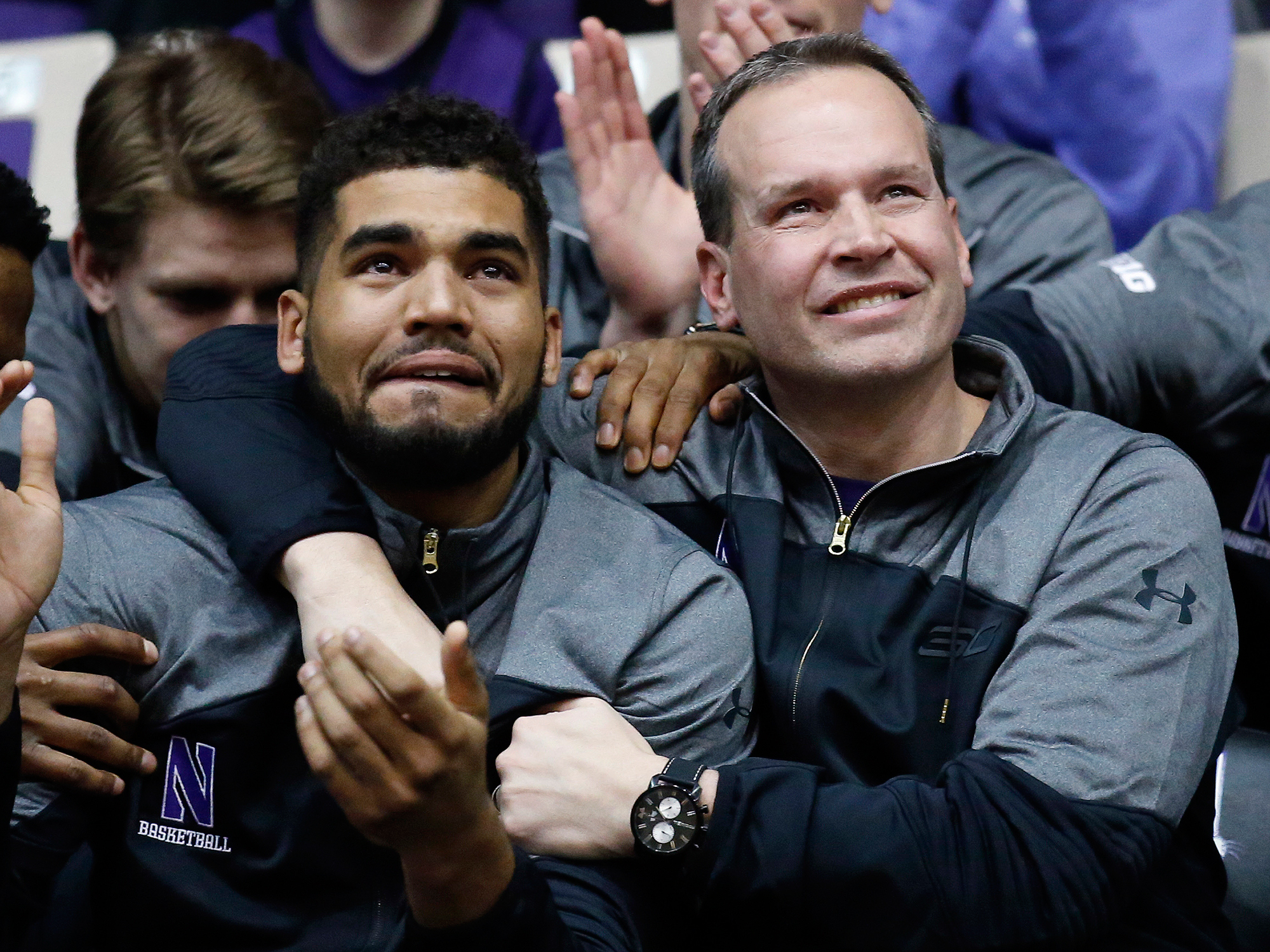 Sanjay Lumpkin with coach Chris Collins at Sunday's watch party