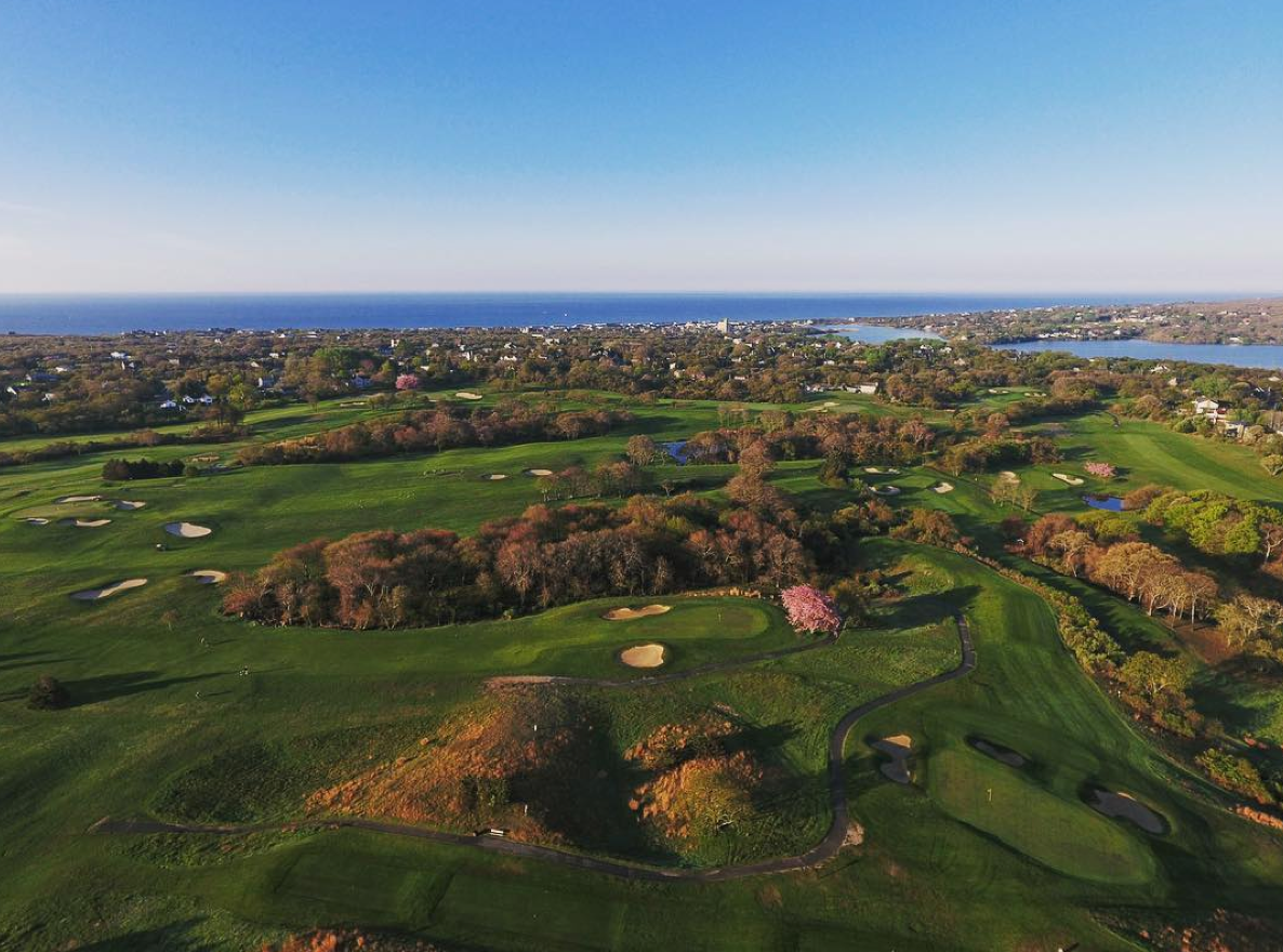 An aerial view of Montauk Downs State Park Golf Course.