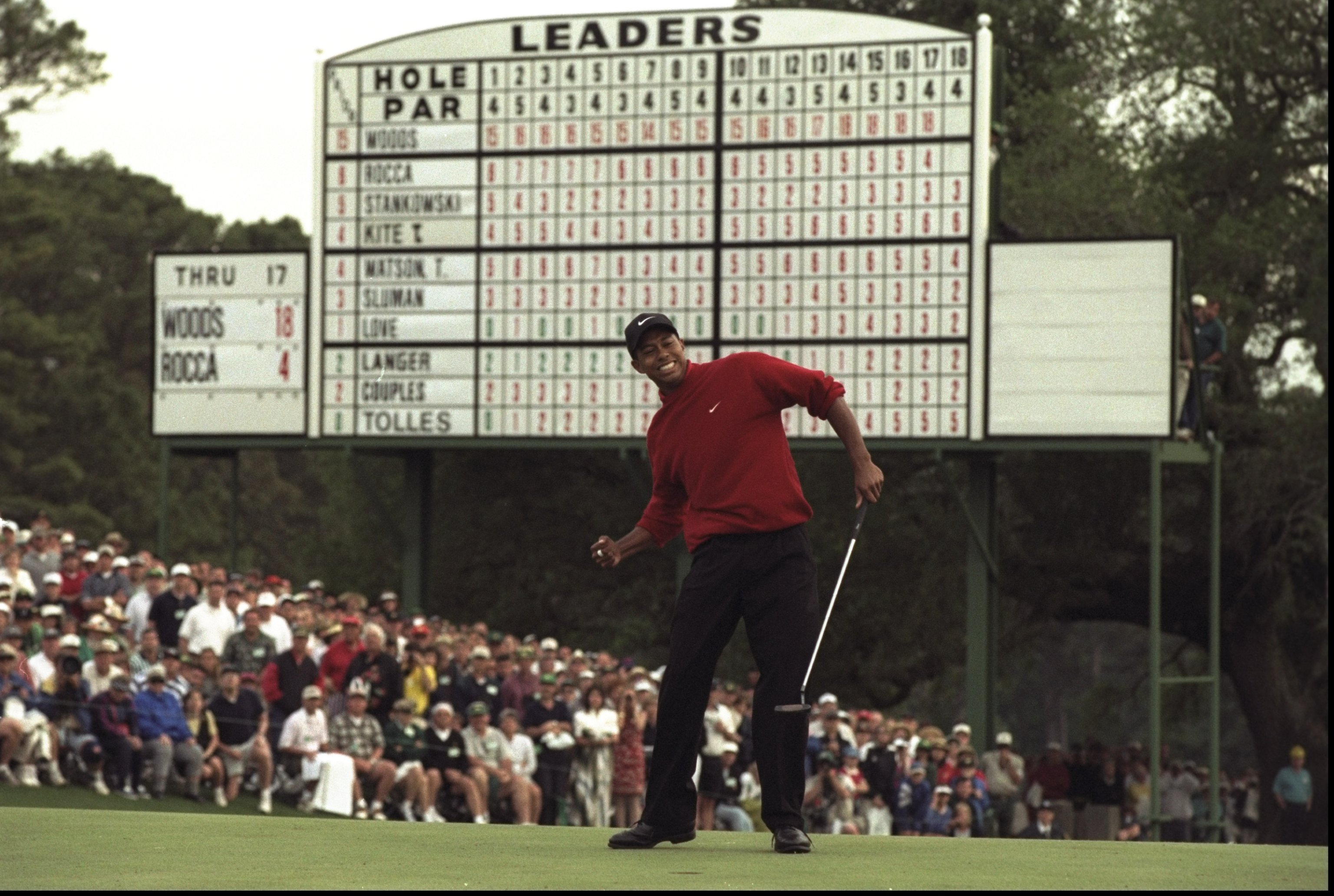 Woods won the 1997 Masters by 12 strokes to become the tournament's youngest-ever winner at 21.