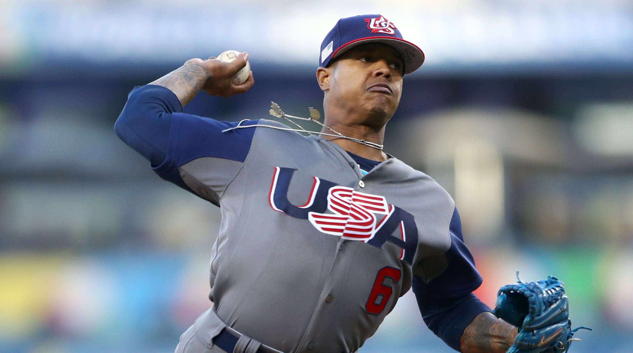 USA's Marcus Stroman throws six no-hit innings in World Baseball Classic final