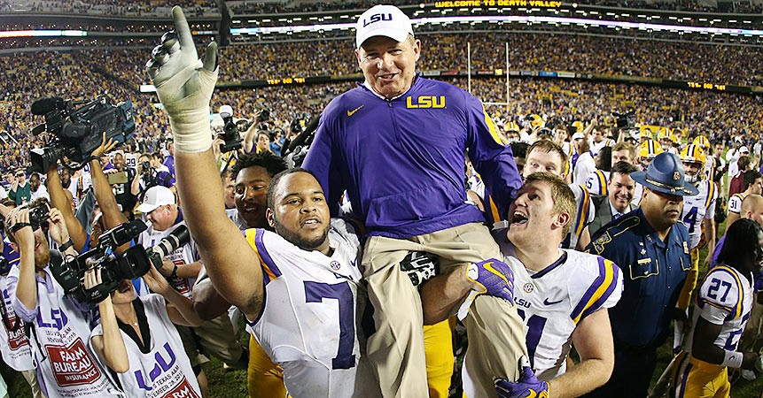 Jimbo Fisher Mad >> LSU football: Les Miles glad to be back for another year | SI.com