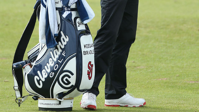 A shot of Keegan Bradley's bag with the St. John's logo.