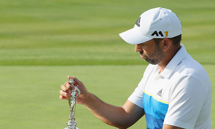 Sergio Garcia of Spain poses with the winner's trophy after winning the AT&T Byron Nelson at the TPC Four Seasons Resort on May 22, 2016 in Irving, Texas.