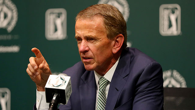 PGA Tour commissioner Tim Finchem speaks to the media regarding the World Golf Championships-Mexico Championship at a press conference prior to The Memorial Tournament.