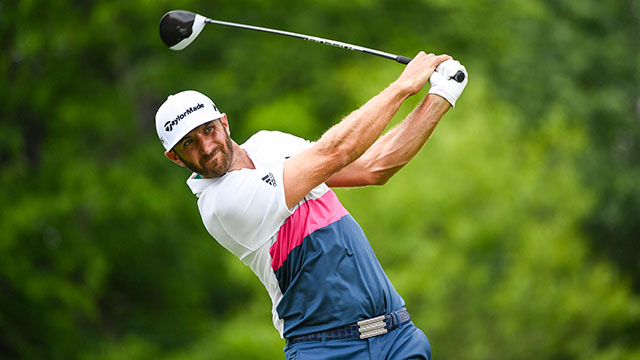 Dustin Johnson tees off on the 18th hole during the first round of the Memorial Tournament.