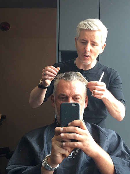 The great man @PaulStafford12 trying to sort the barnet out!! @StaffordHair