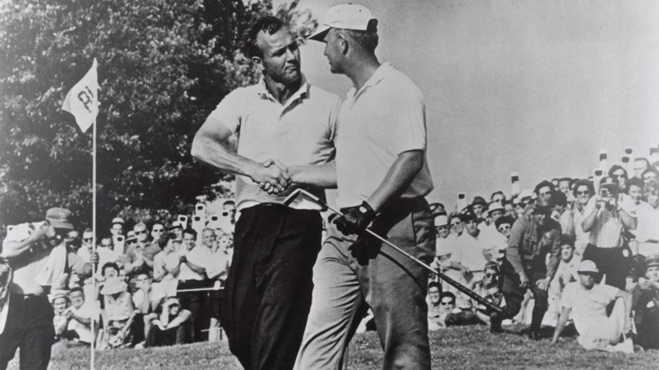 The classic photo of Arnold Palmer (left) congratulating Jack Nicklaus after his playoff win in the 1962 Open at Oakmont hangs prominently on a clubhouse wall.