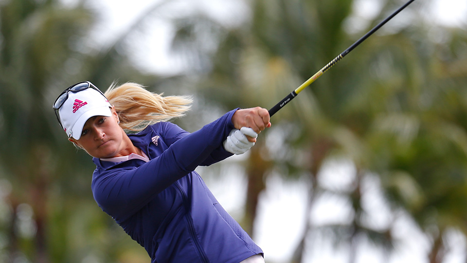 Anna Nordqvist tees off the second hole during the third round of the 2016 Pure Silk Bahamas LPGA Classic.