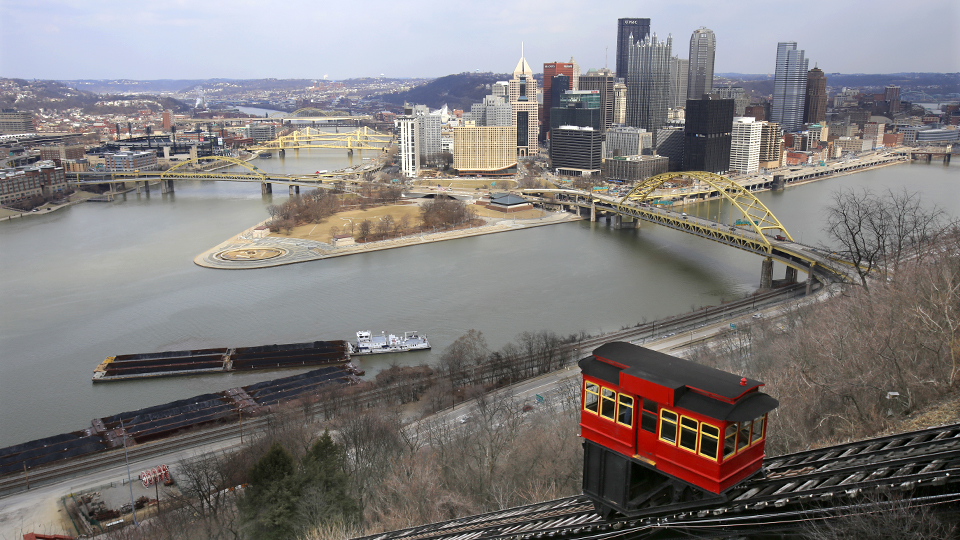 The Duquesne Incline provides a stunning view of the Pittsburgh skyline.