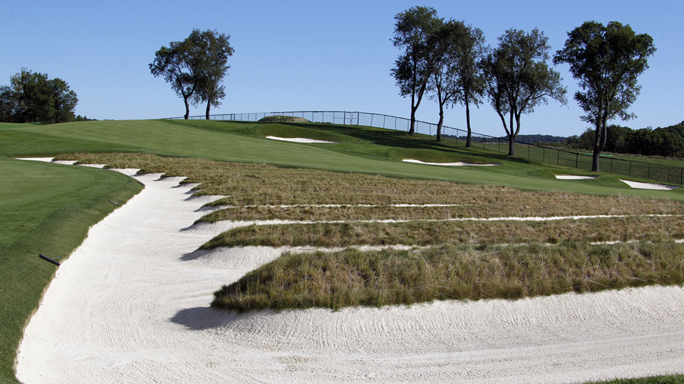 The infamous church pews bunker will penalize anyone who misses the third and fourth fairways left.