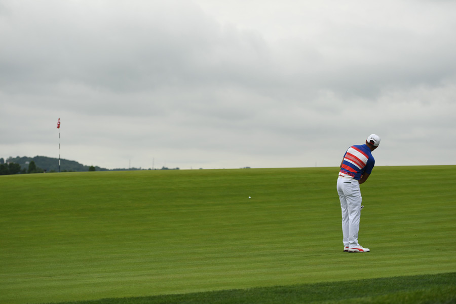 Fowler struggled on Thursday. His round was interrupted three different times by weather delays.