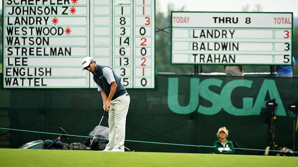 Andrew Landry makes his 10-foot putt Friday morning for a first round 66, a record first round score of any U.S. Open at Oakmont.