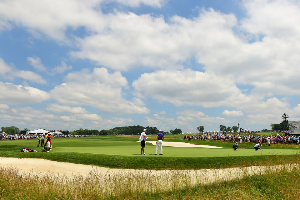 A scenic shot of Oakmont on a beautiful Friday morning at the U.S. Open.