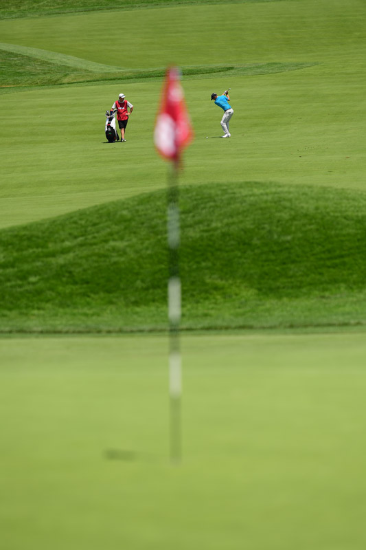 A view from behind the green as an approach shot is hit on Friday.