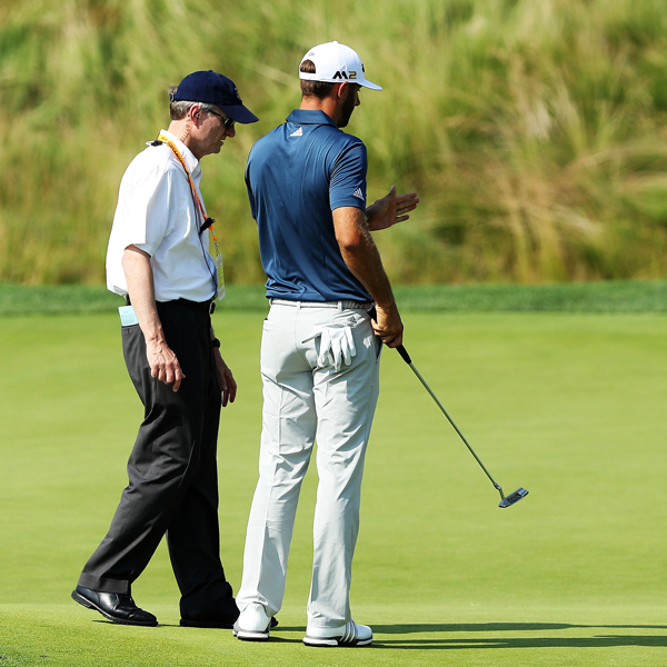 Dustin Johnson was assessed a one-shot penalty after his final round at the 2016 U.S. Open despite consulting with a rules official on the 5th hole after he noticed his ball move as he addressed it to putt.