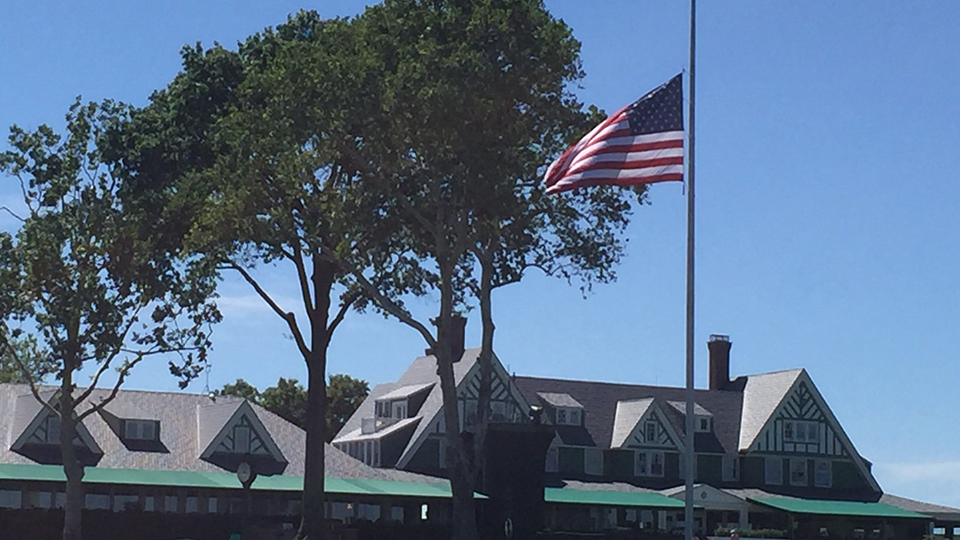 The flag at Oakmont Country Club flies half mast in honor of the victims of the Orlando Pulse shooting.