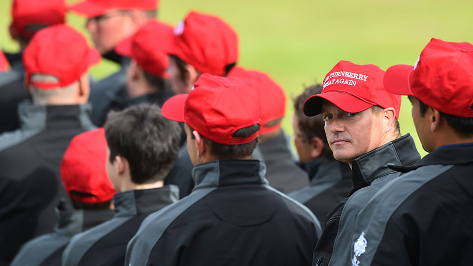 Staff at Turnberry wore Trump-inspired hats to celebrate the golf course's re-opening.
