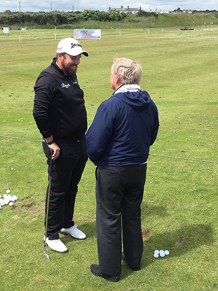 Sharing words of encouragement with @ShaneLowryGolf, fresh off his runner-up finish in the @usopengolf at Oakmont.