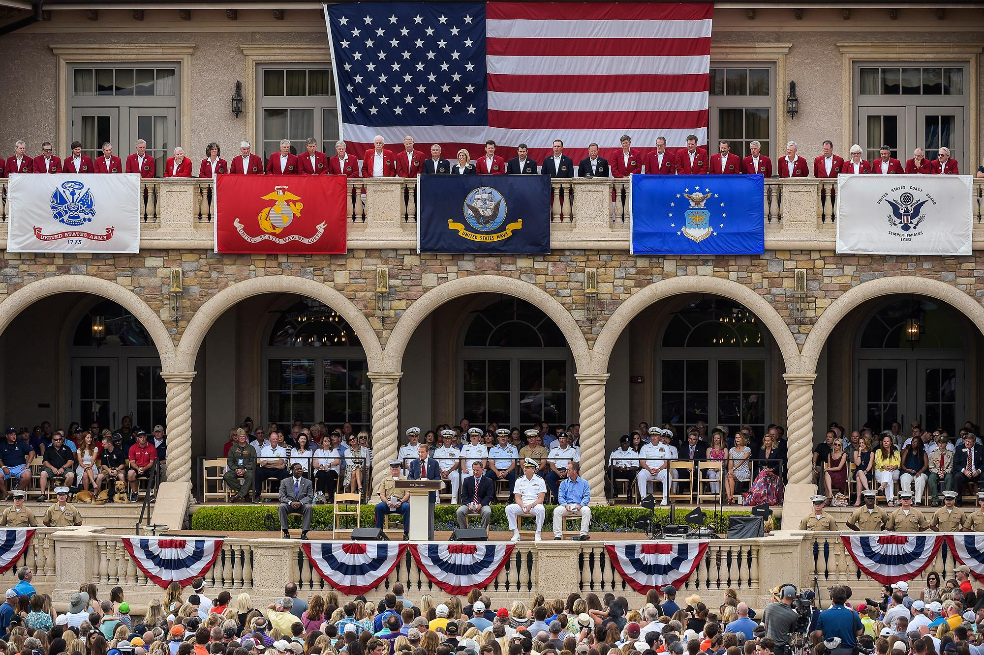 Jacksonville Mayor Alvin Brown, Sergeant Major Bryan Battaglia, PGA TOUR Commissioner Tim Finchem, Steve Sands of NBC Golf Channel, Admiral Phil Davidson and golfer David Duval take part in Military Appreciation Day at the 2015 Players Championship.