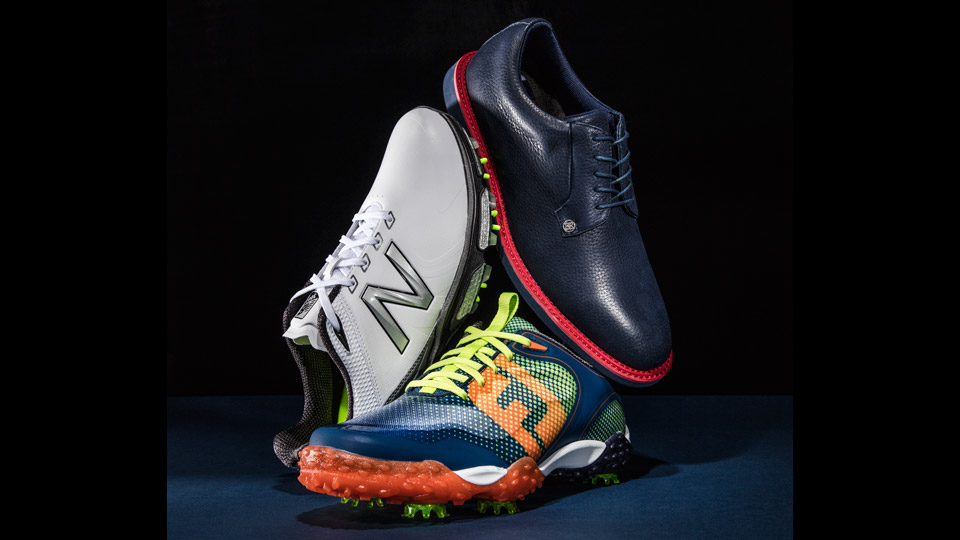 Left: NEW BALANCE NBG3001; Center: FOOTJOY FREESTYLE; Right: G/FORE STRIPE GALLIVANTER IV.0