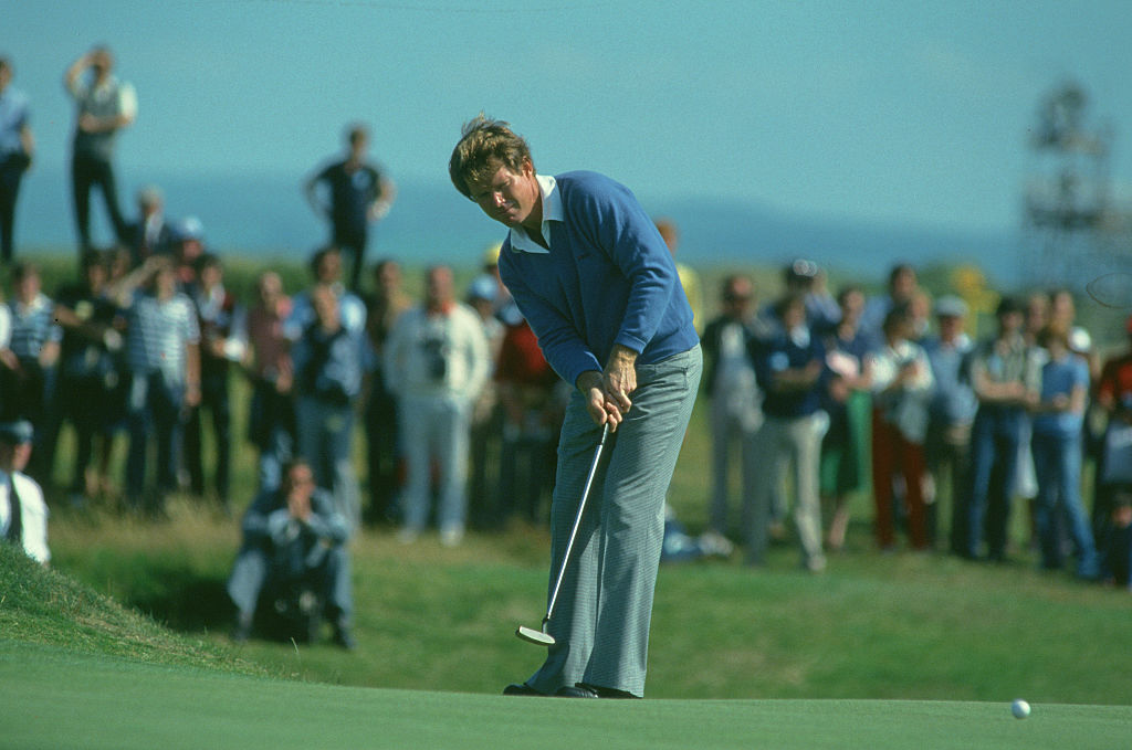 Tom Watson playing in the 1982 Open at Troon.