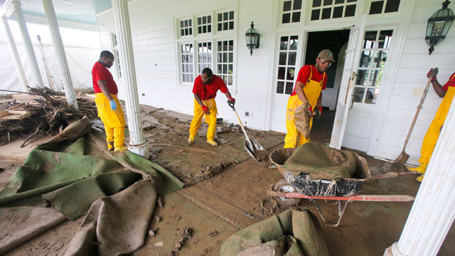 Workers at The Greenbrier dealt with the flooding aftermath.