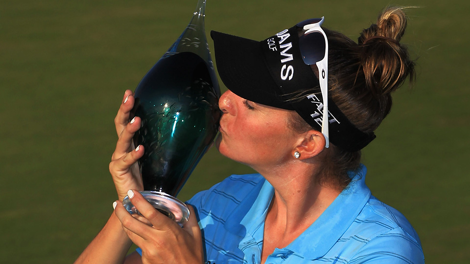 Brittany Lang poses with trophy after winning the  Manulife Financial LPGA Classic at Grey Silo Golf Course on June 24, 2012 in Waterloo, Ontario, Canada.