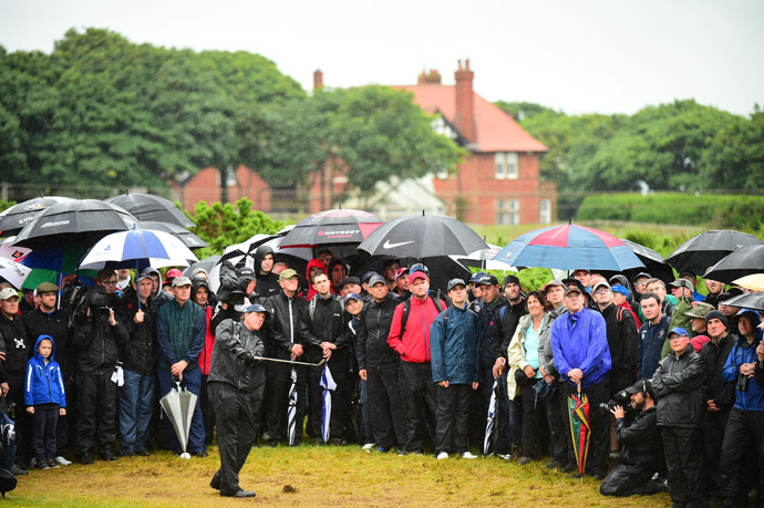 Phil Mickelson fought through stormy conditions during the second round Friday morning at Royal Troon.