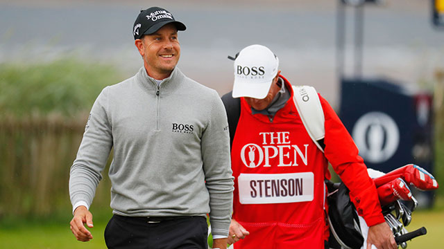 Henrik Stenson of Sweden smiles as he walks down the second hole during the third round on day three of the 145th Open Championship at Royal Troon on July 16, 2016 in Troon, Scotland.