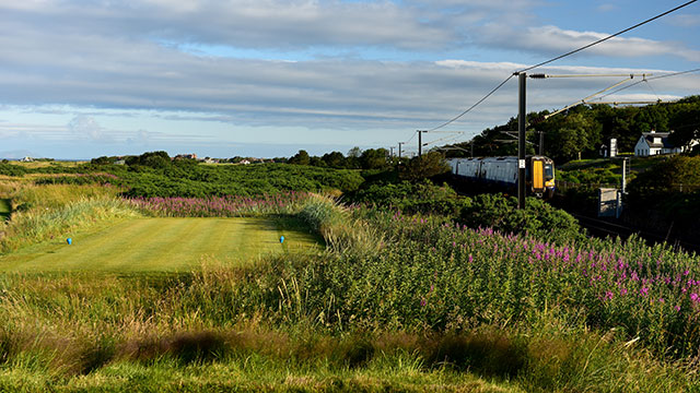 The tee shot on the 490 yards par 4, 11th hole 'The Railway' on the Old Course at Royal Troon the venue for the 2016 Open Championship on July 30, 2015 in Troon, Scotland.