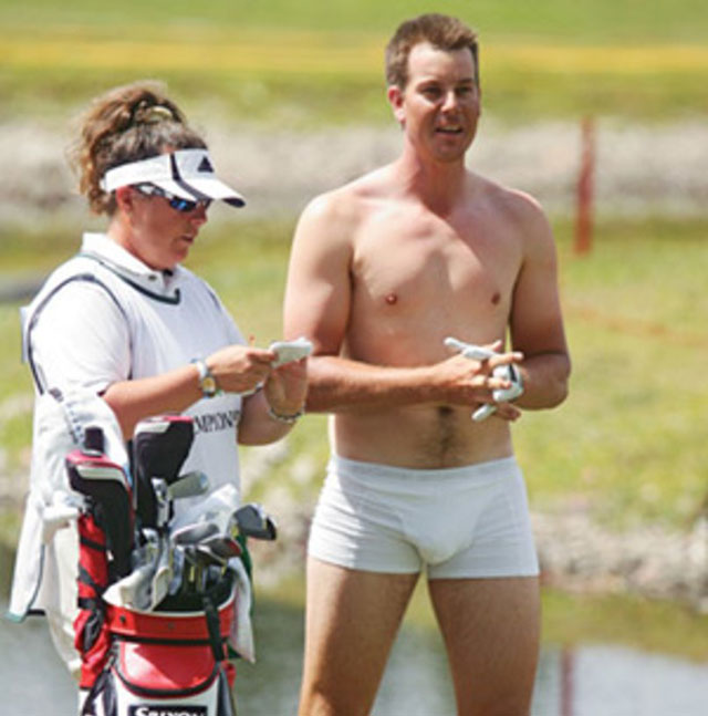 Henrik Stenson stripped down to his underwear during an event in 2009.