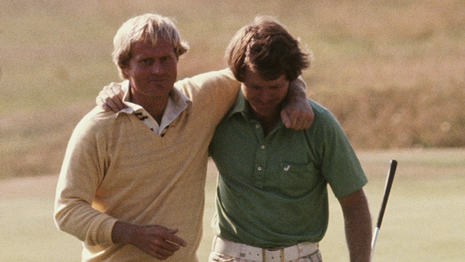 Jack Nicklaus and Tom Watson walk together at the 1977 British Open at the Turnberry Ailsa course in Turnberry, Ayrshire, Scotland.