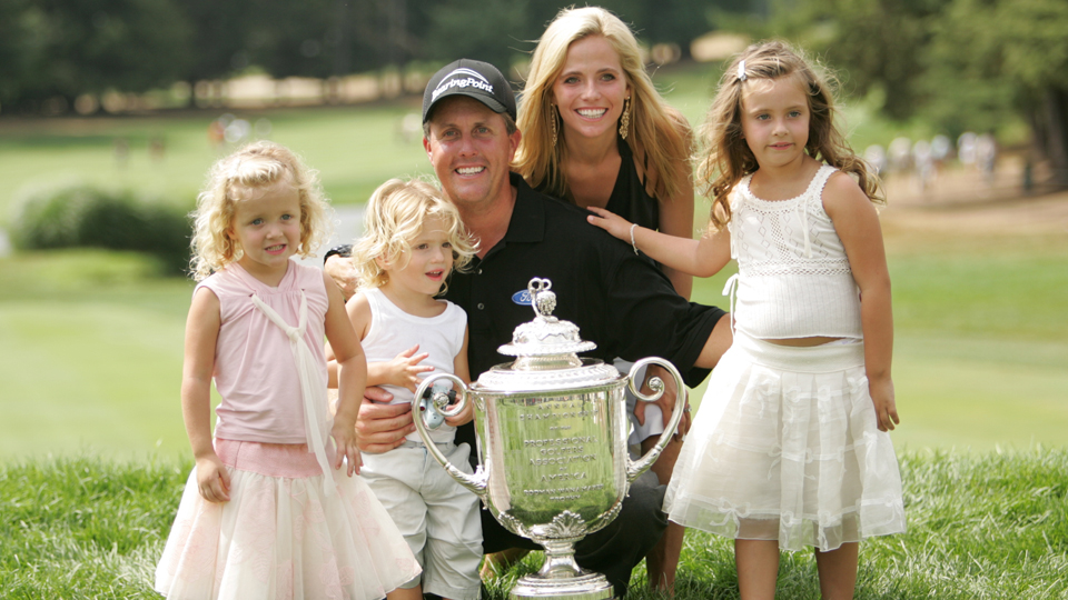 Mickelson was greeted by his family after winning the 2005 PGA.